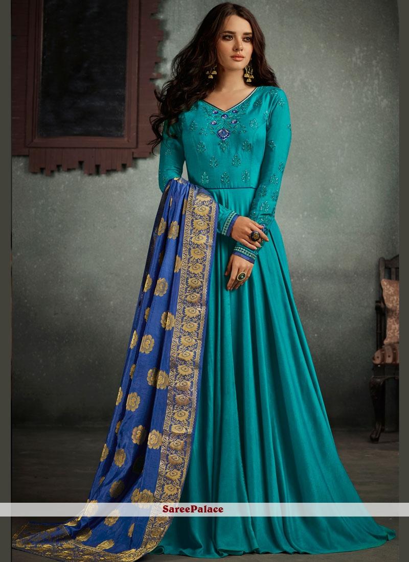 Buy Hypnotizing Resham Work Rayon Floor Length Anarkali Suit Online