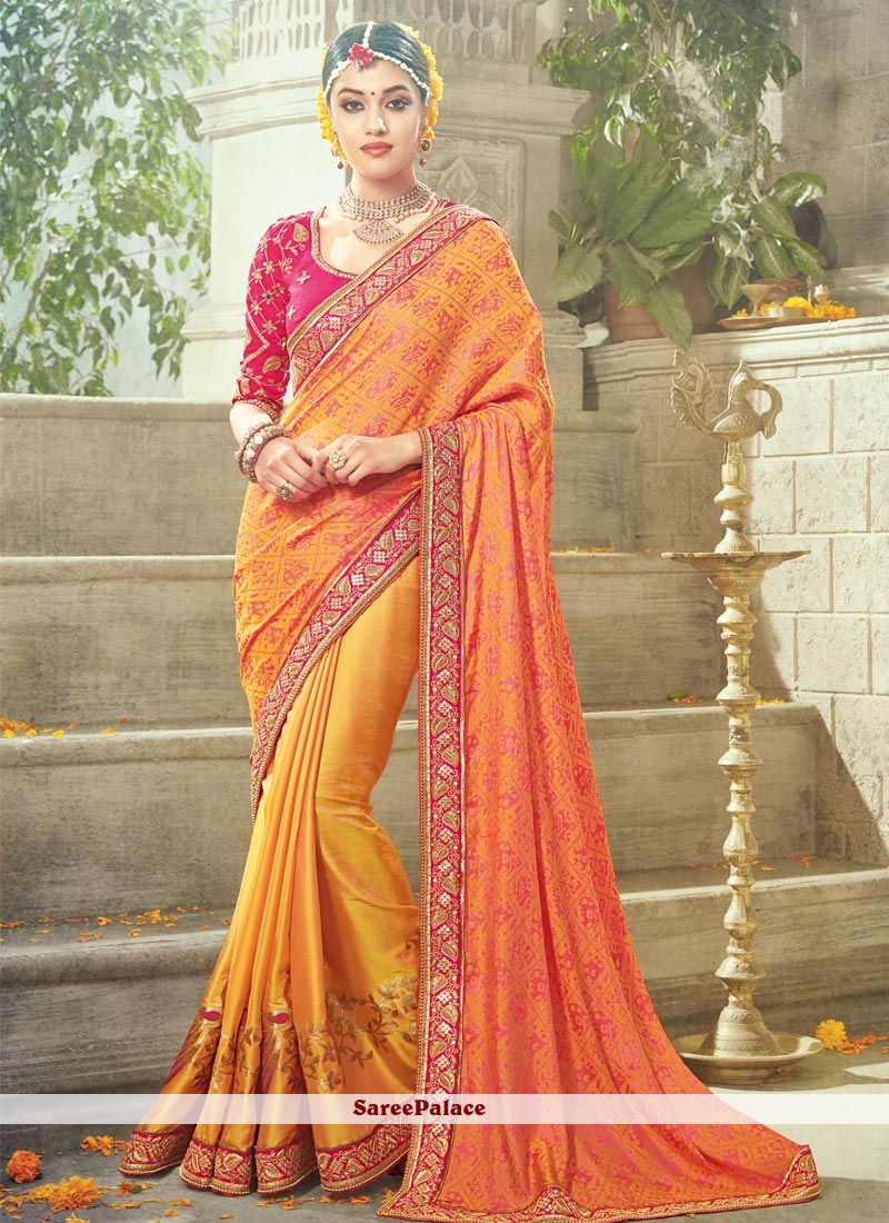 Hypnotizing Satin Patch Border Work Traditional Designer Saree