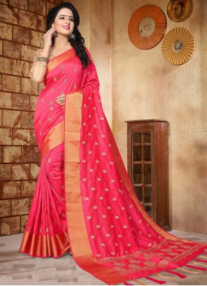 Ideal Art Silk Hot Pink Zari Work Designer Traditional Saree