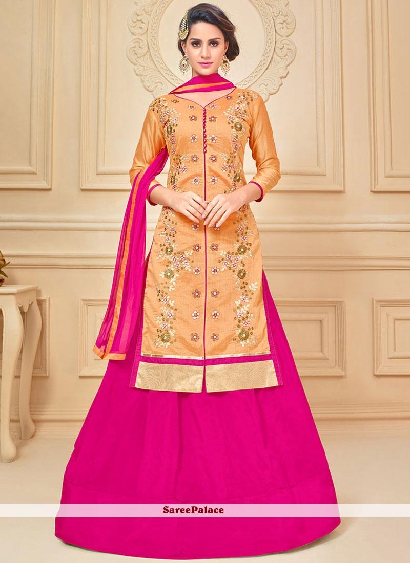 866bc35fe2 Buy Ideal Hot Pink and Orange Lace Work Chanderi Cotton Long Choli Lehenga  Online