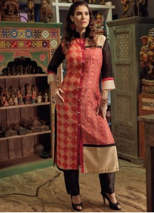 Ideal Pink Print Work Party Wear Kurti