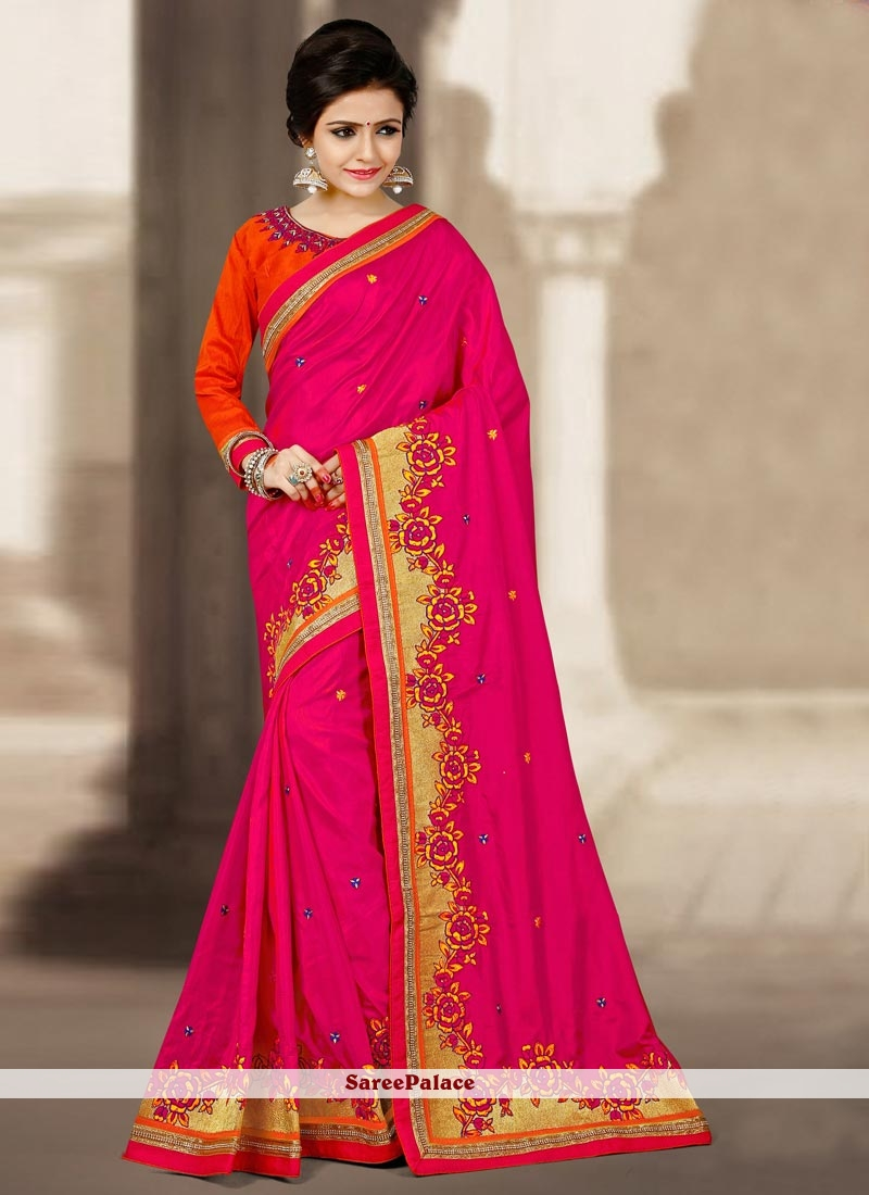 Immaculate Art Silk Magenta Embroidered Work Traditional  Saree