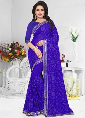 Immaculate Faux Georgette Resham Work Designer Saree