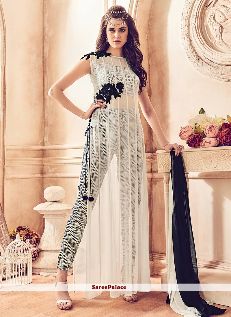 Immaculate Off White Faux Georgette Pant Style Suit