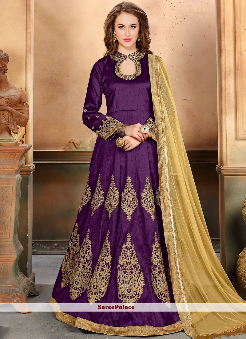 Immaculate Purple Anarkali Salwar Kameez