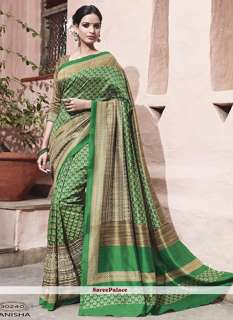 Impeccable Art Silk Print Work Traditional  Saree