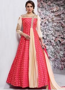 Impeccable Embroidered Work Pink Anarkali Salwar Kameez