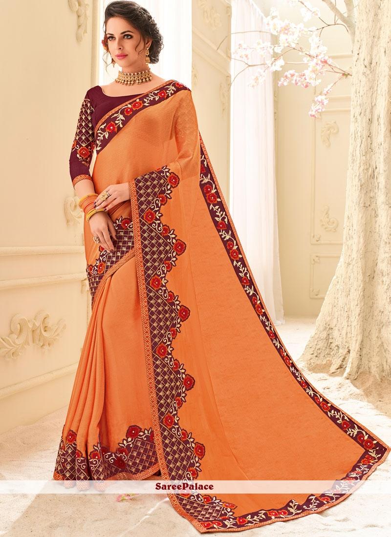 927f397f1e352 Buy Impeccable Faux Chiffon Orange Patch Border Work Classic Designer Saree  Online