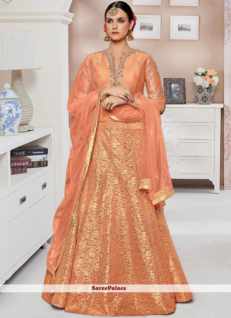 31d1b2f547 Buy Impeccable Jacquard Peach Lehenga Choli Online