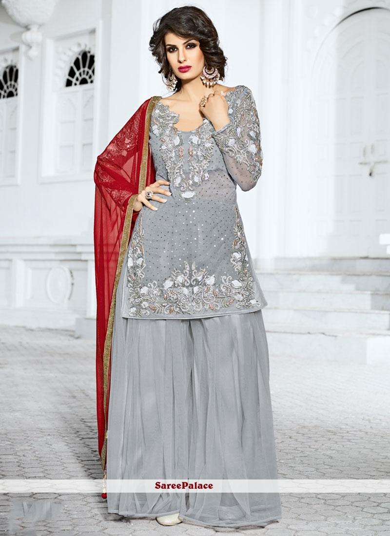 Buy Impeccable Net Grey Designer Pakistani Suit Online
