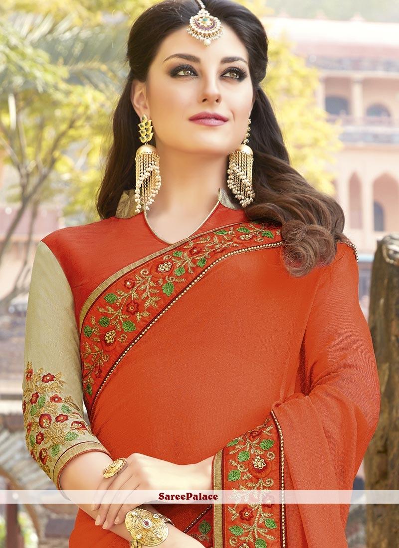 354e0db280210 Buy Impeccable Resham Work Fancy Fabric Half N Half Designer Saree ...