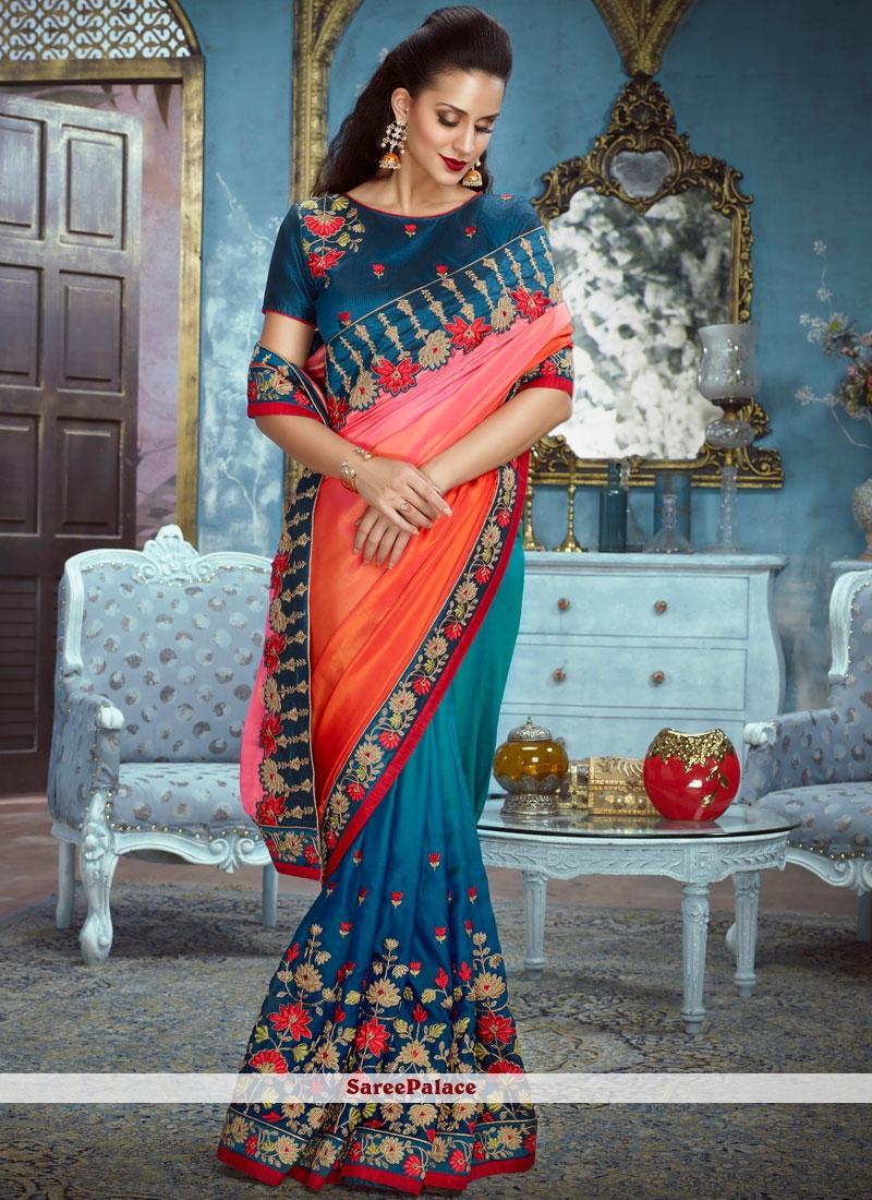 a6e72a64a48a7 Buy Impeccable Resham Work Satin Silk Designer Half N Half Saree Online