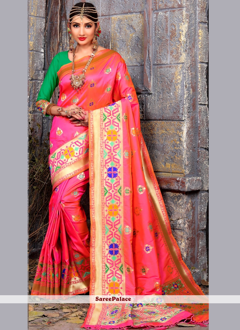 Imperial Art Silk Pink Traditional Designer Saree
