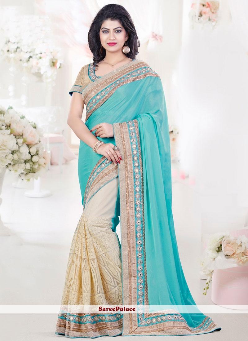 Imperial Beige and Turquoise Designer Half N Half Saree