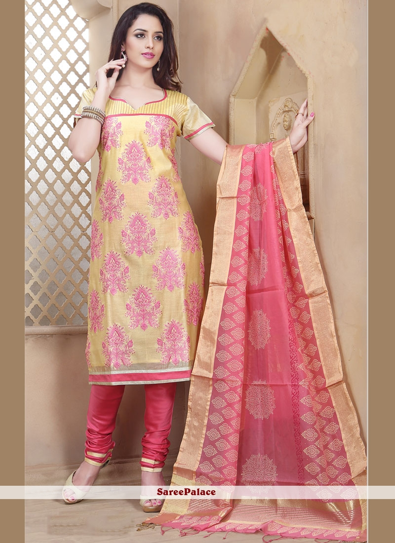 Imperial Chanderi Rose Pink and Yellow Churidar Designer Suit