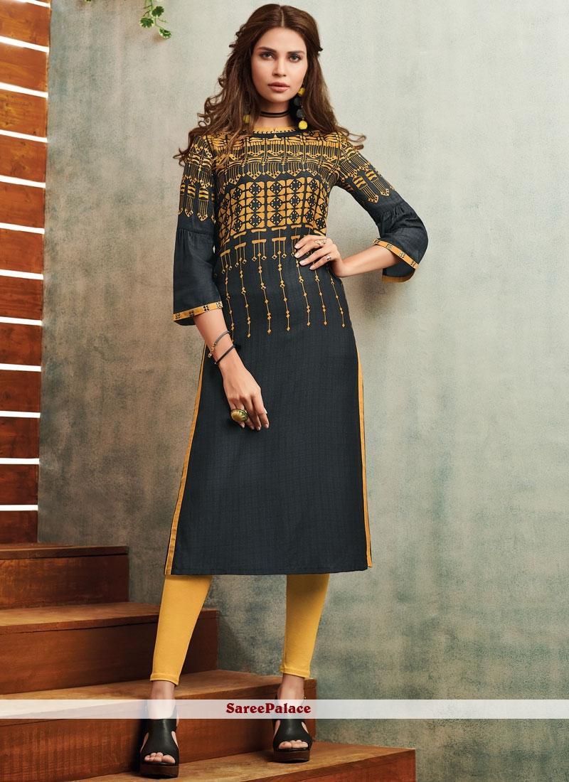 698a984b4 Buy Imperial Fancy Fabric Print Work Party Wear Kurti Online