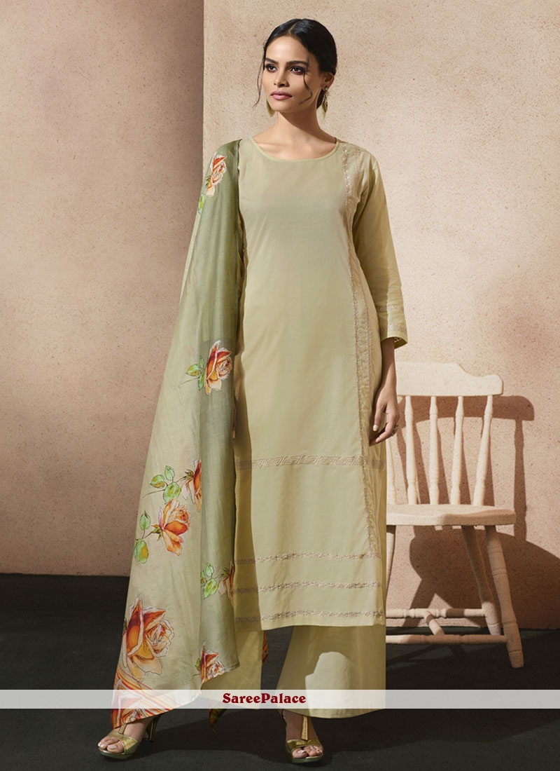 Imperial Green Print Work Cotton   Designer Palazzo Suit