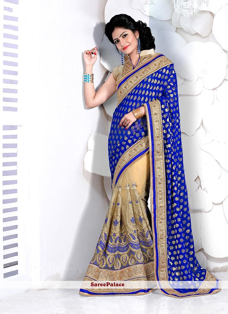Imperial Patch Border Work Beige and Blue Designer Half N Half Saree