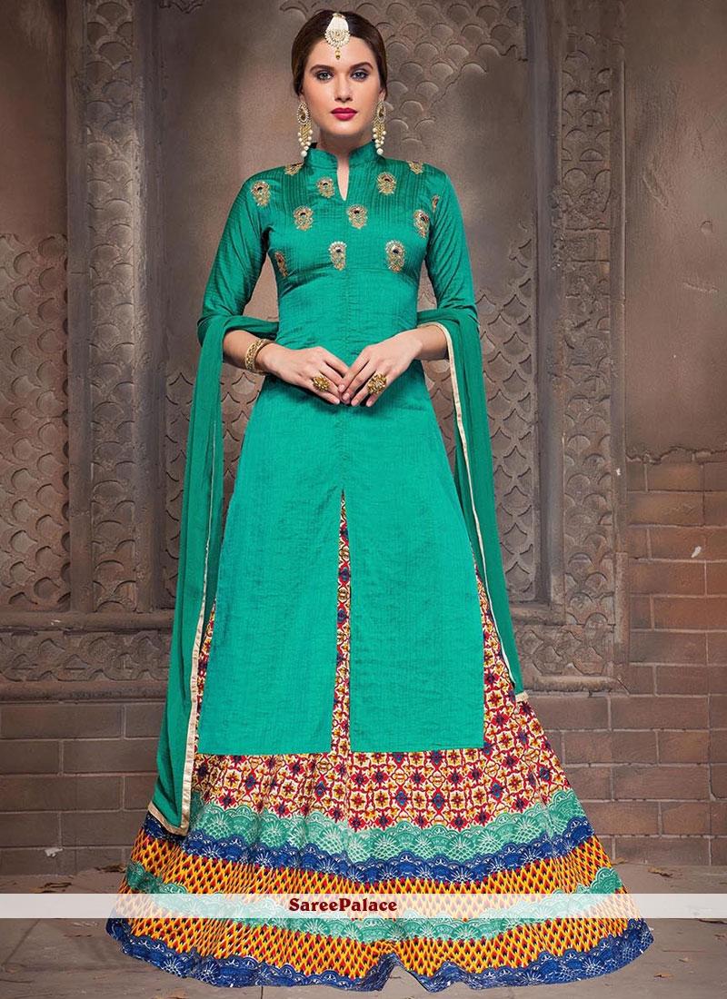 Buy imperial print work bhagalpuri silk long choli lehenga for Imperial printing