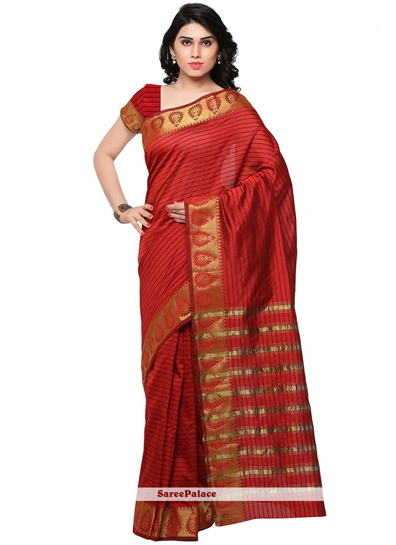 Imposing Banarasi Silk Red Weaving Work Traditional  Saree
