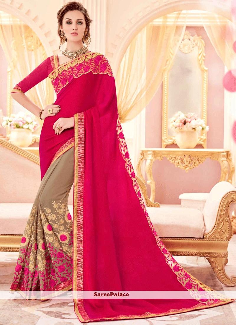 24f93111b0 Buy Imposing Beige and Hot Pink Faux Georgette Half N Half Designer Saree  Online