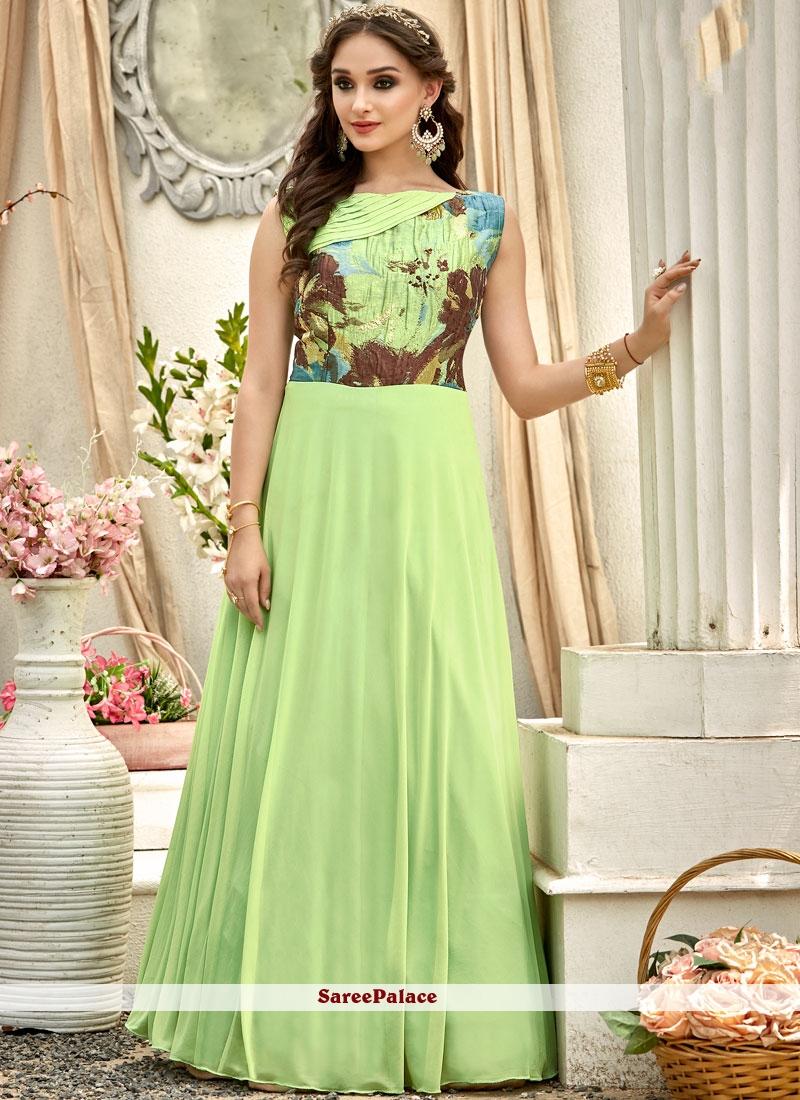 3803d5b5df4565 Buy Imposing Digital Print Work Fancy Fabric Green Designer Gown Online