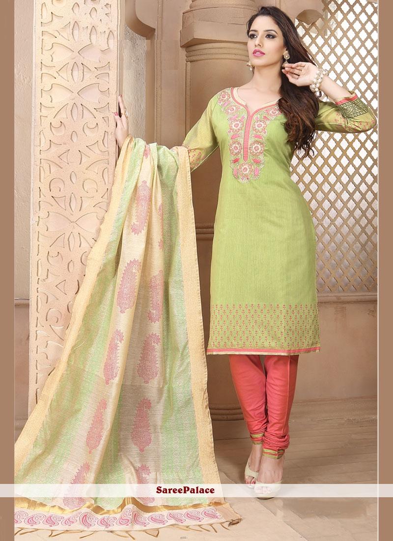 Imposing Embroidered Work Green Chanderi Churidar Designer Suit