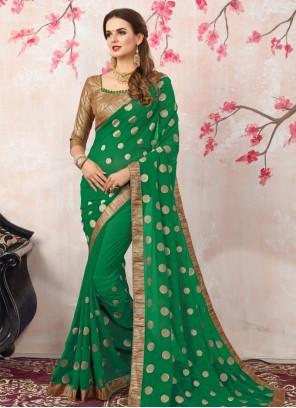 Imposing Georgette Green Zari Work Bollywood Saree