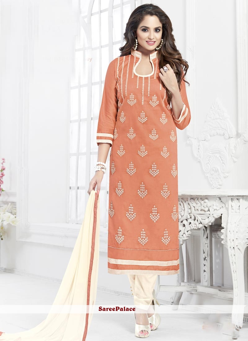 Incredible Cotton   Embroidered Work Churidar Suit