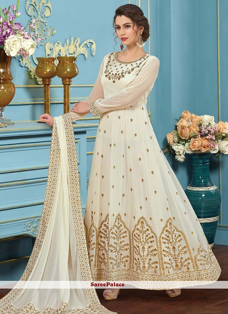 Buy Incredible Embroidered Work White Faux Georgette Floor Length ...