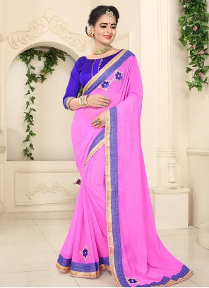 Incredible Lace Work Pink Faux Georgette Classic Designer Saree