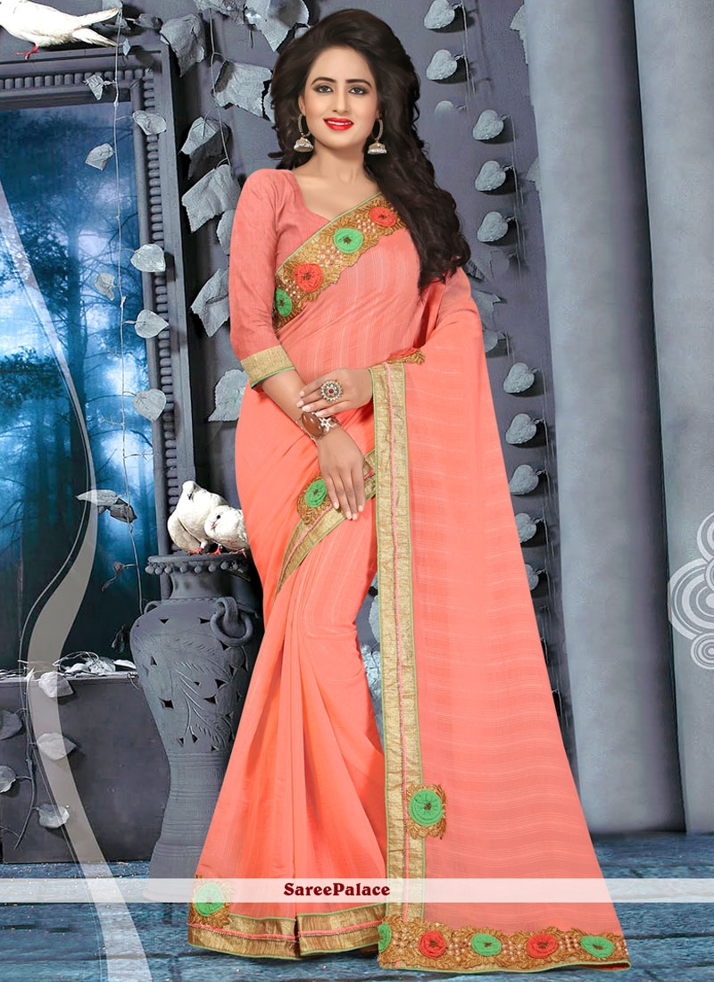 Incredible Peach Embroidered Work Classic Saree