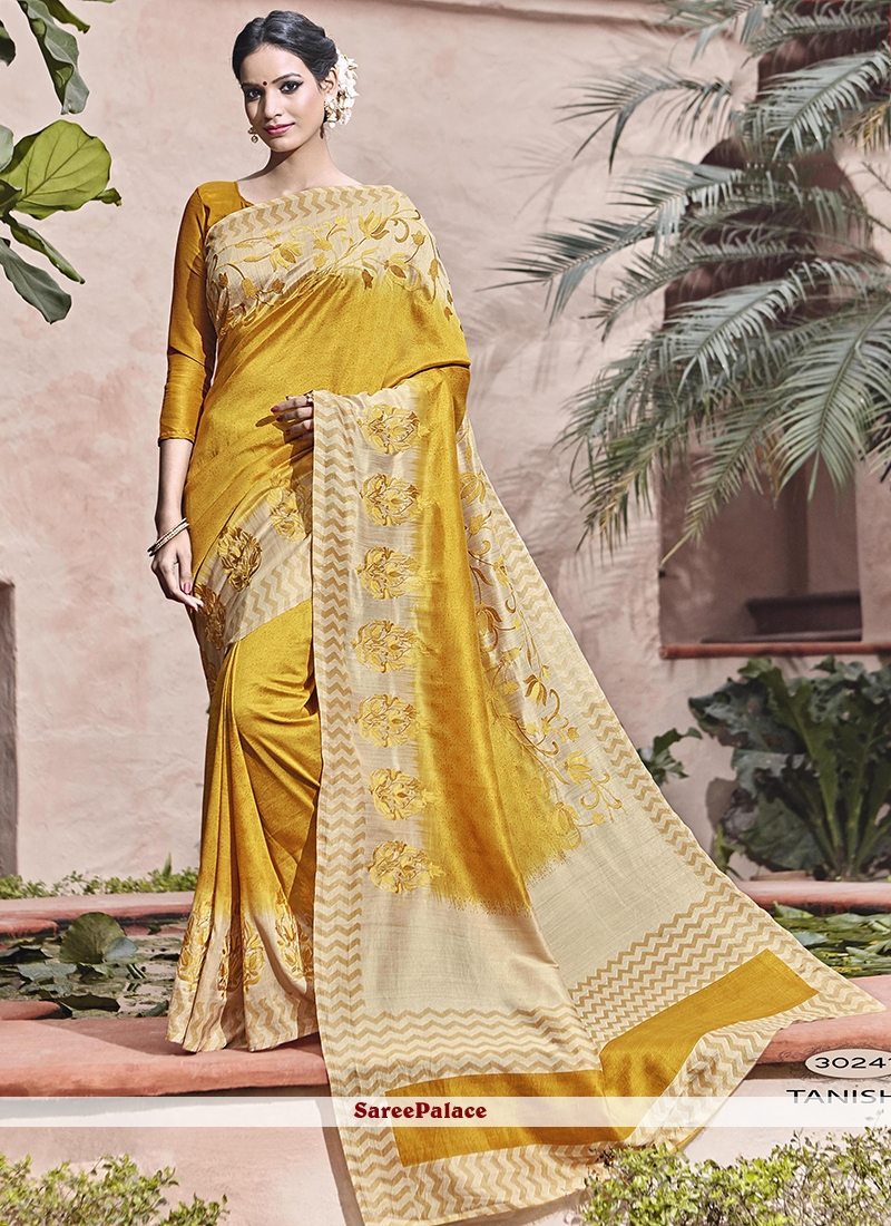Incredible Yellow Patch Border Work Art Silk Traditional  Saree