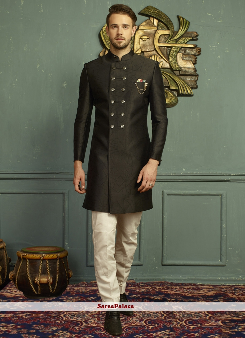 Indo Western Embroidered Jacquard in Black