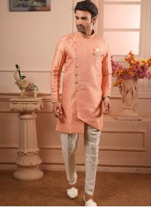Indo Western Embroidered Jacquard in Peach