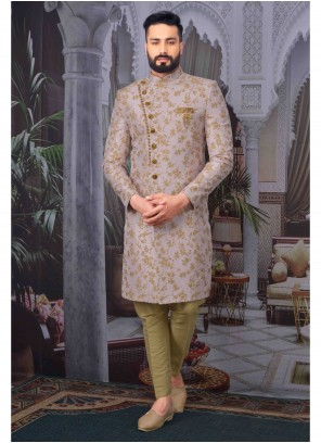 Indo Western Embroidered Jacquard in Pink