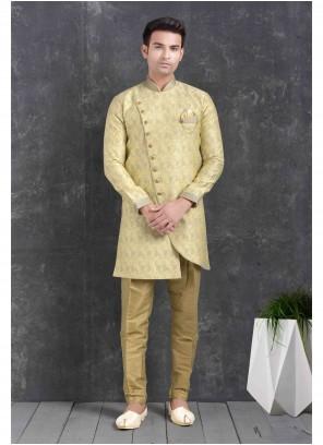 Indo Western Printed Jacquard Silk in Cream
