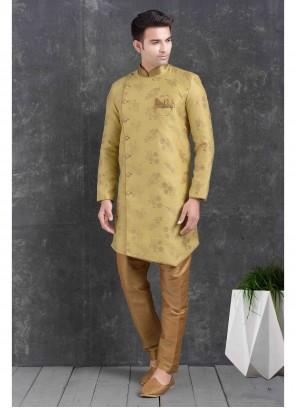 Indo Western Printed Jacquard Silk in Yellow