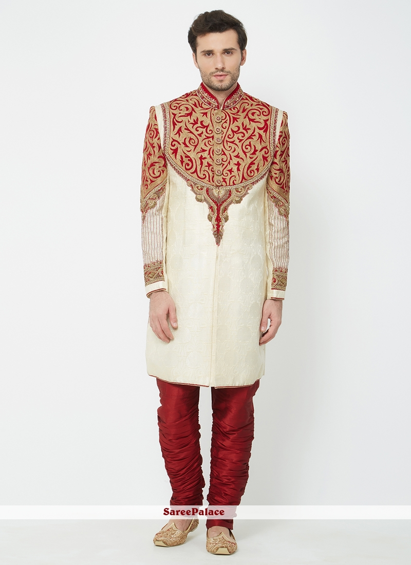 b6cb6b20a0 Buy Indo Western Sherwani Machine Embroidery Art Silk in Cream Online