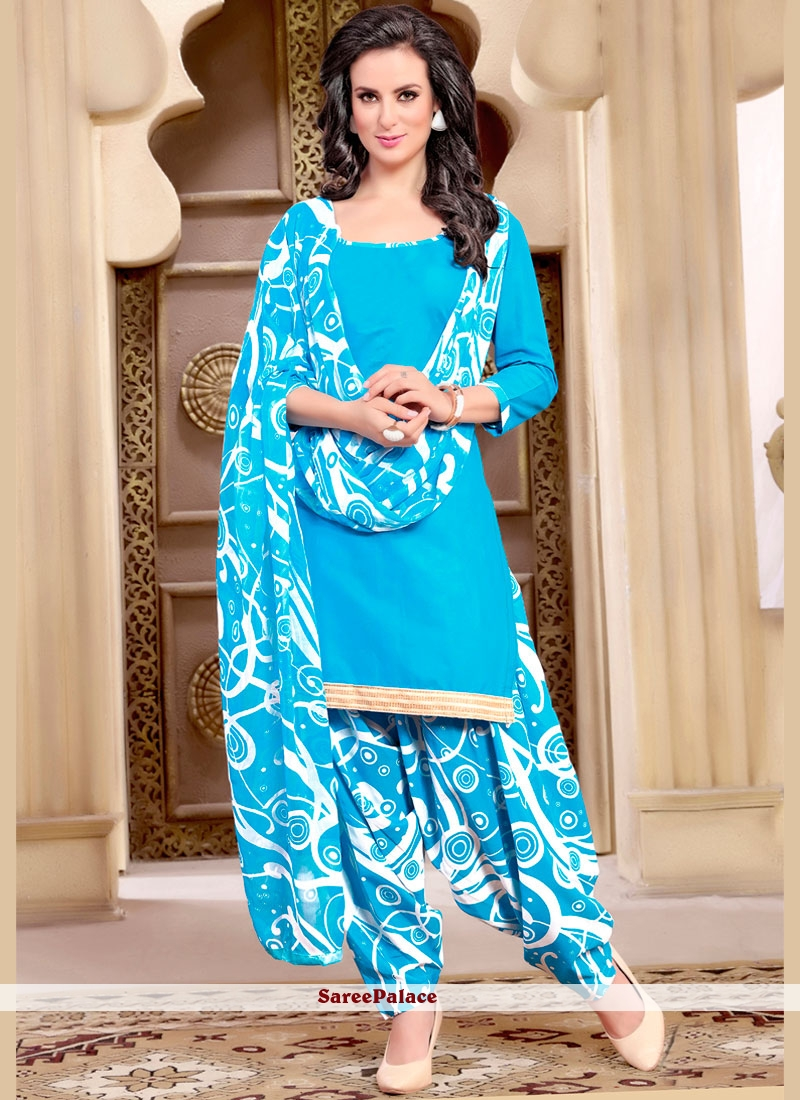 Buy Innovative Cotton Blue Print Work Punjabi Suit Online
