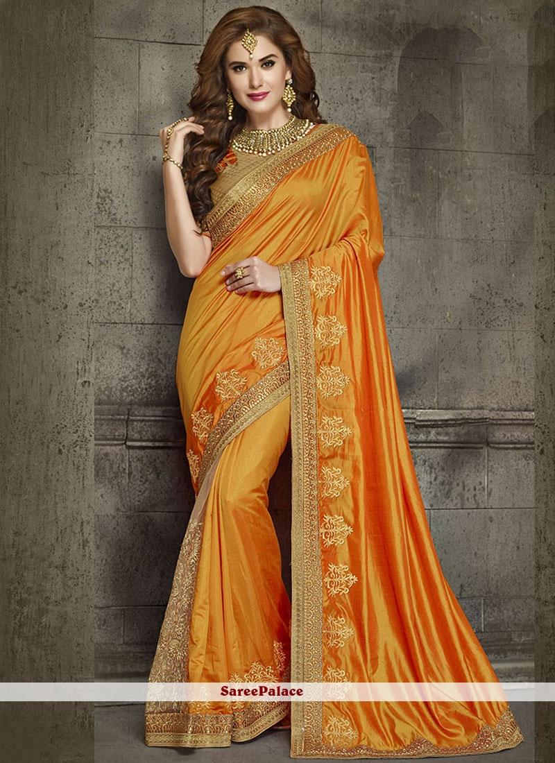 Innovative Orange Patch Border Work Art Silk Designer Traditional Saree