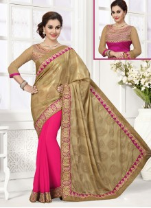 Integral Hot Pink Jacquard Designer Saree