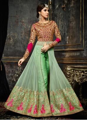 Integral Sea Green Resham Work Faux Georgette Designer Suit