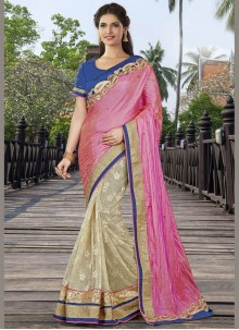 Intricate Art Silk Beige and Pink Half N Half Designer Saree