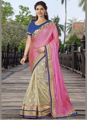 Intricate Art Silk Beige and Pink Half N Half Designer Saree