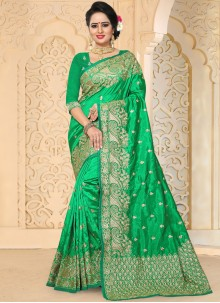 Intricate Art Silk Green Embroidered Work Traditional  Saree