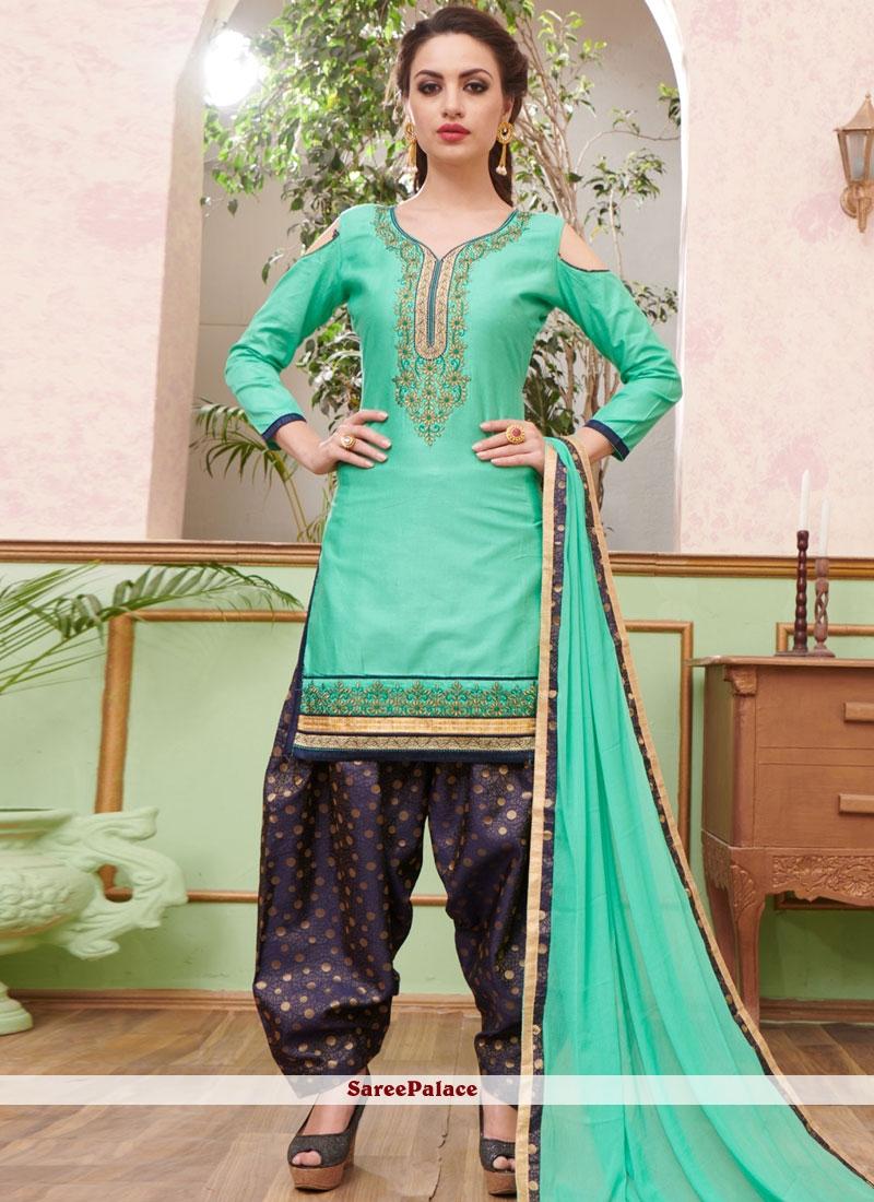 Buy Intricate Cotton Sea Green Punjabi Suit Online