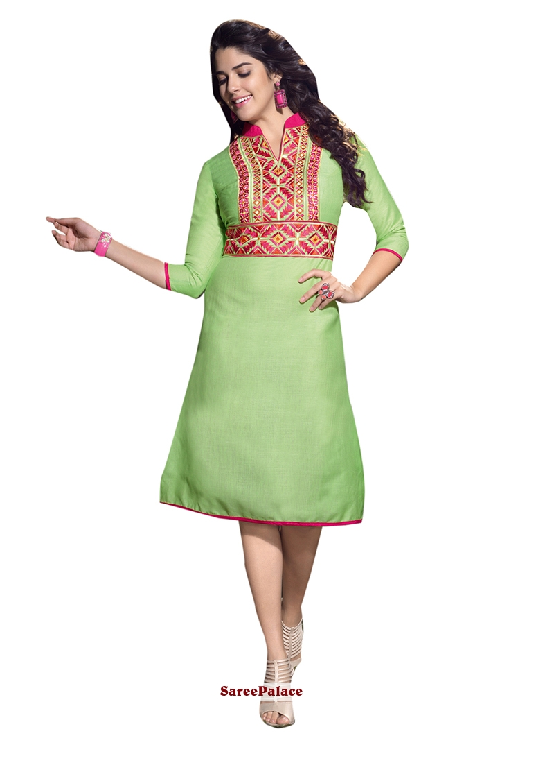 Intricate Linen Green Embroidered Work Party Wear Kurti