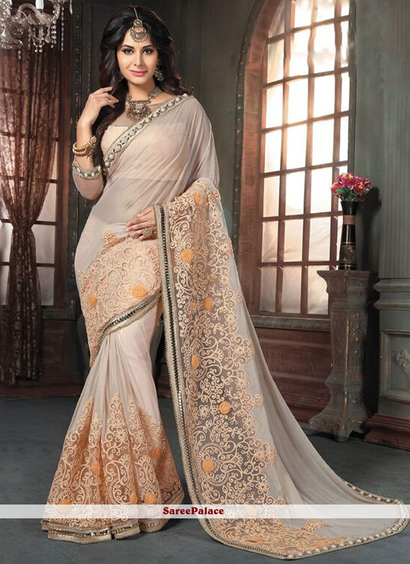 Intricate Patch Border Work Traditional  Saree