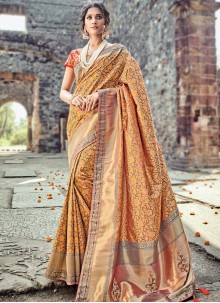 Intricate Peach and Red Banarasi Silk Traditional Designer Saree